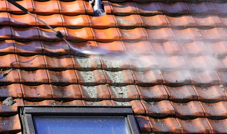 Professionnel pour le démoussage d'un toit de maison